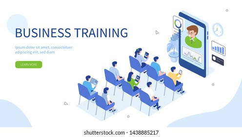 Business training or courses concept. Can use for web banner, infographics, hero images. Flat isometric vector illustration isolated on white background.