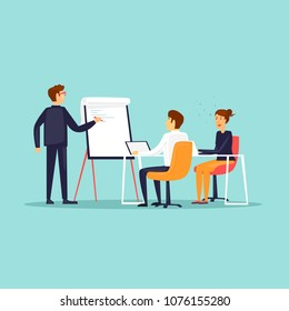 Business training, Courses, office life, meeting. Flat design vector illustration.