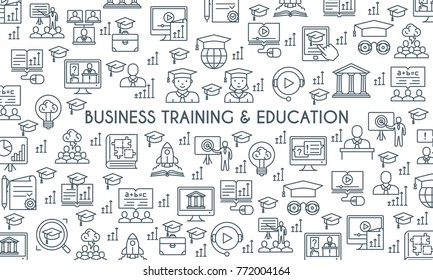 Business training and education banner. Thin line icons set. Consulting, learning and teaching. Professional and career growth. Vector illustration