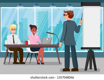Business Training Flat Vector Illustration. Corporate Education. Speaker near Whiteboard Cartoon Character. Project Presentation. Boss Explaining to Colleagues. Marketing Conference, Seminar