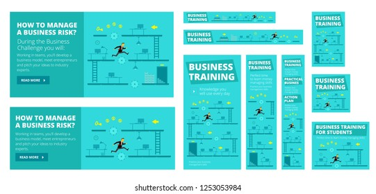 Business training game and competition. A set of banners all standard sizes for advertising in social networks and search engines.