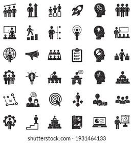 Business Training Icons. Black Scribble Design. Vector Illustration.