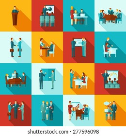Business training icons flat set with presentation and seminar for workers symbols isolated vector illustration