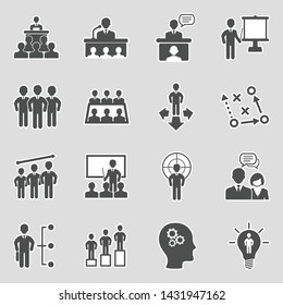 Business Training Icons. Sticker Design. Vector Illustration.