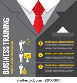 Business training - infographic illustration. Businessman infograph vector concept banner. Office suits creative layout. Recruitment or training. Design elements.