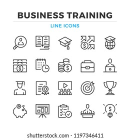 Business training line icons set. Modern outline elements, graphic design concepts, simple symbols collection. Vector line icons