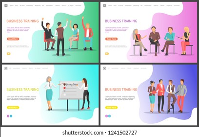 Business training, listeners and presentation of workers vector. Education of personnel, professional conference for learning more, improving skills