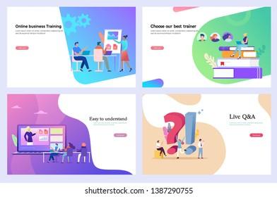 Business training, online course, web design template, business workshop, online seminar, digital education vector illustration concept, can use for, landing page, ui, homepage, poster, banner, flyer