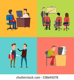 Business training and presentation colorful icons set in cartoon style. Concept  of business success and development. Office computer work and freelance.  Isolated. Vector
