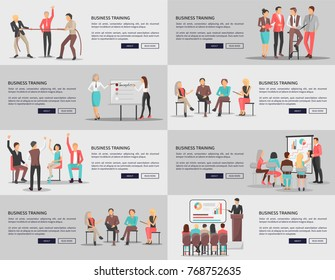 Business training seminars set of posters with co workers taking part at conference discussions and competitions vector web banners with text