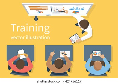 Business training staff, concept. Briefing meeting. Corporate training, seminar. Flat style vector. Conference employee. Training conference planning business decisions.