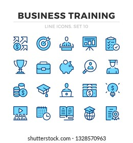 Business training vector line icons set. Thin line design. Outline graphic elements, simple stroke symbols. Business training icons