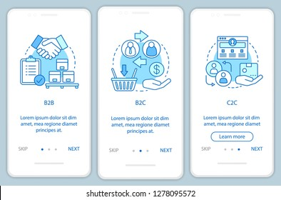 Business transactions onboarding mobile app page screen vector template. B2B, B2C, C2C walkthrough website steps. Market types. Business models. UX, UI, GUI smartphone interface concept