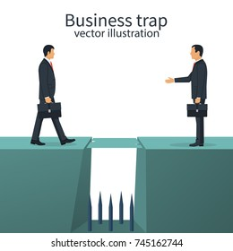 Business trap concept. Deceit betrayal. Businessman deceives competitor into trap. Competition. Vector illustration flat design. Isolated on white background. Person in suit tie with briefcase.