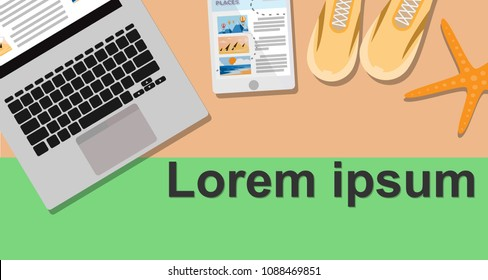 Business travel background wallpaper style with laptop,tablet,sport shoes and star fish on orange-green color wallapaper with copy space for your text