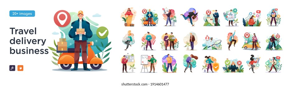 Business Travel, Delivery and social media illustrations. Mega set. Collection of scenes with men and women taking part in business activities. Trendy vector style