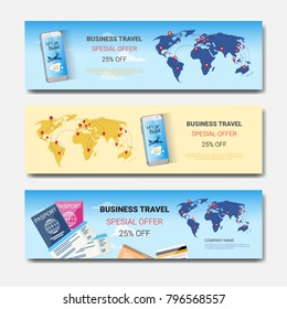 Business Travel Special Offer Set Of Template Horizontal Banners, Tourism Agency Seasonal Sale Posters Design Vector Illustration