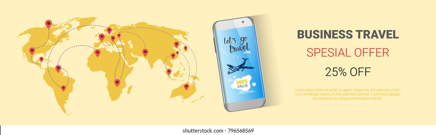 Business Travel Special Offer Template Banner, Tourism Company Agency Seasonal Sale Horizontal Poster Design Vector Illustration