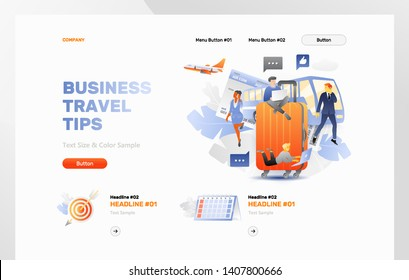 Business travel tips vector header template. Web banner or hero image of business travel.