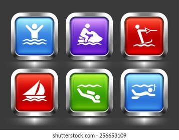 Business Travel and Tourism on Color Square Buttons