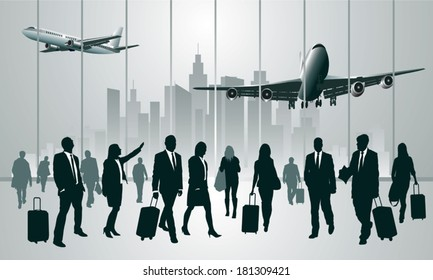 Business travelers in the airport terminal. Vector illustration