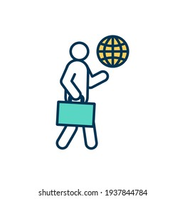 Icône couleur RVB voyageur d'affaires. Voyage pour les fonctions professionnelles accomplies. Voyages d'affaires. Accès Wifi pendant le voyage à l'étranger. Voyager pour affaires. Illustration vectorielle isolée