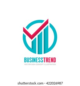 Business trend - vector logo concept illustration. Check mark and growth graphic in circle. Infographic, business graphic. Design element.
