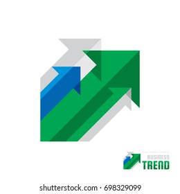 Business trend - vector logo template concept illustration. Abstract arrows system background. Infographic icon. Stock exchange market creative symbol. Design element.