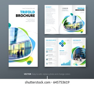 Business tri fold brochure design. Blue orange corporate business template for tri fold flyer. Layout with modern shaped photo and abstract background. Creative concept folded flyer or brochure.