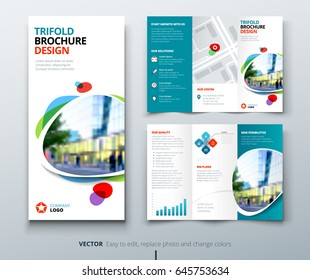 Business tri fold brochure design. Teal tri fold flyer. Layout with modern shaped photo and abstract background. Creative concept folded flyer or brochure.