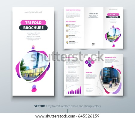 business tri fold brochure design pink のベクター画像素材