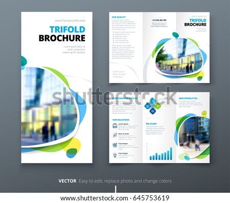 business tri fold brochure design blue stock vector royalty free
