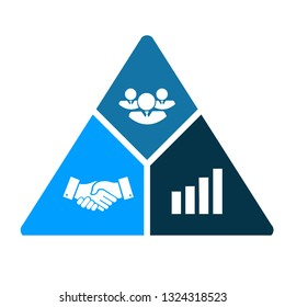 business triangle, handshake, business graph, teamwork. illustration design isolated over a white background.