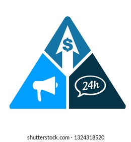 business triangle, loudspeaker, 24 hour service and dollar. illustration design isolated over a white background.