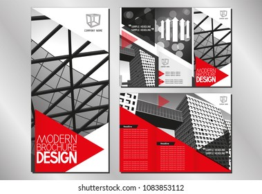 Business trifold brochure/ flyer template (A4 to DL format - 3 x 99x210 mm) - modern office buildings/ architecture/ defocused background - red graphics with triangles.