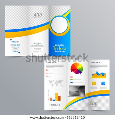 business tri fold brochure layout statistical infographic stock