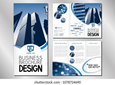 Broschüre für dreistellige Broschüren (Format A4 bis DL) - moderne Bürogebäude/ Wolkenkratzer.