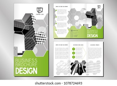 Business trifold brochure template (A4 to DL format) - modern office buildings/ skyscrapers - white, gray and green graphics.