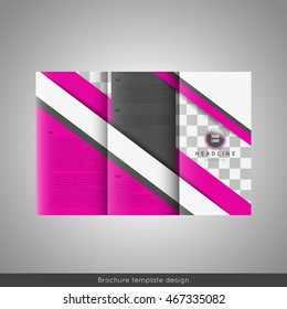 Business trifold brochure template design. Place for photo. Stock vector.