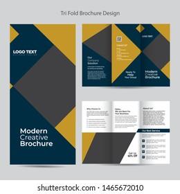 Business tri-fold brochure template, vector design