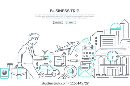 Business trip - modern line design style illustration on white background with place for your text. Banner with businessman running to the airport with a smartphone and suitcase, taxi, plane, passport
