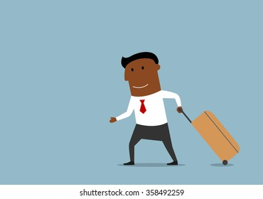 Business trip, travel, vacation and holiday concept design. Cartoon african american businessman pulling luggage, going on voyage or traveling