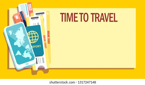 Business trip or vacation concept. Vector banner with passport, tickets, smartphone, credit card and insurance card