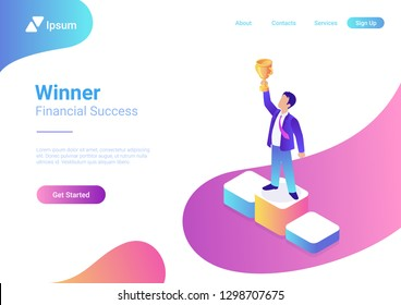 Business trophy rating award winner concept vector flat 3d web isometric infographic. Businessman on first place pedestal rising hand with gold cup.