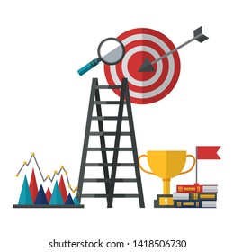 business trophy target books flag success vector illustration