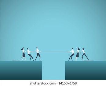 Business tug of war vector concept. Symbol of competition, market share, struggle, rivalry and also teamwork and leadership. Eps10 illustration.