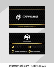 business type name card luxury with modern black white gold