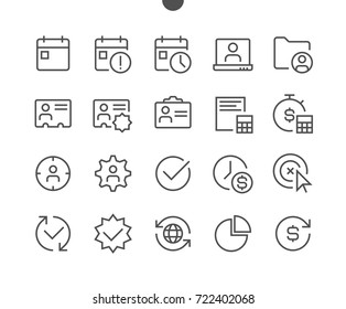 Business UI Pixel Perfect Well-crafted Vector Thin Line Icons 48x48 Ready for 24x24 Grid for Web Graphics and Apps with Editable Stroke. Simple Minimal Pictogram Part 3-6