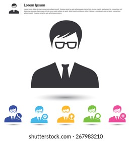 Business user in suite icon set