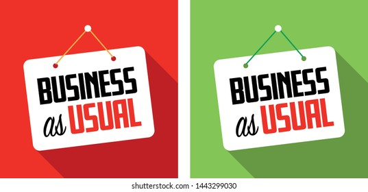 Business as usual on hanging door sign
